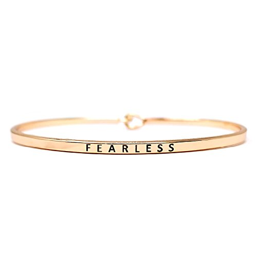 Message Inspirational Band - by you Inspirational Fearless Message Engraved Thin Cuff Bangle Hook Bracelet (Fearless-Rosegold, Brass)