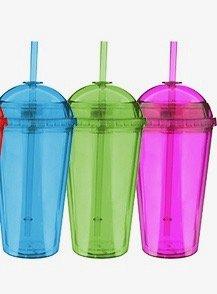 3 x Large Summer Milkshake Smoothie bottles with screw lids and hard plastic str