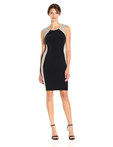 Xscape Women's Short Dress with Caviar Bead Sides, Black/Nude/Silver, 4