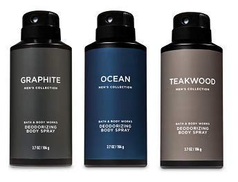 Bath and Body Works 3 Pack Deodorizing Body Spray. Graphite, Ocean and Teakwood. 8 ()