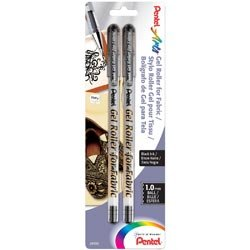 (Pentel Pens Bulk Buy (3-Pack) Gel Roller Fabric Pens 1mm 2 Pack Black BN15BP2A)