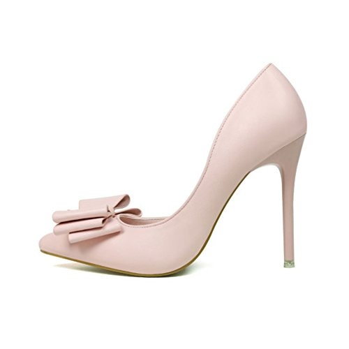 CYBLING Fashion Women Pointed Toe Bowtie Dress Pumps for Wedding Stiletto Heels Shoes Pink US1vVcKoLU