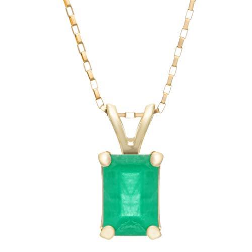 Yellow Gold Emerald Bracelet - 6X4MM Emerald Cut Genuine Emerald Pendant 18