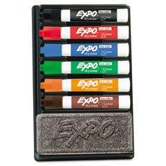 - Dry Erase Marker & Organizer Kit, Chisel Tip, Assorted, 6/Set