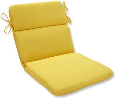 Pillow Perfect Outdoor Indoor Fresco Round Corner Chair Cushion, 40.5 x 21 , Yellow