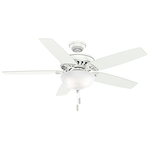 Casablanca 54022 Concentra Gallery 54-Inch 5-Blade Single Light Ceiling Fan, Snow White with Matte Snow White Blades and Cased White Glass Bowl Light