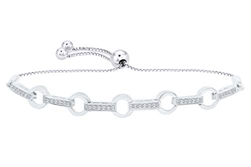 Round White Natural Diamond Circle Link Bolo Bracelet in 14k White Gold Over Sterling Silver - 9.5