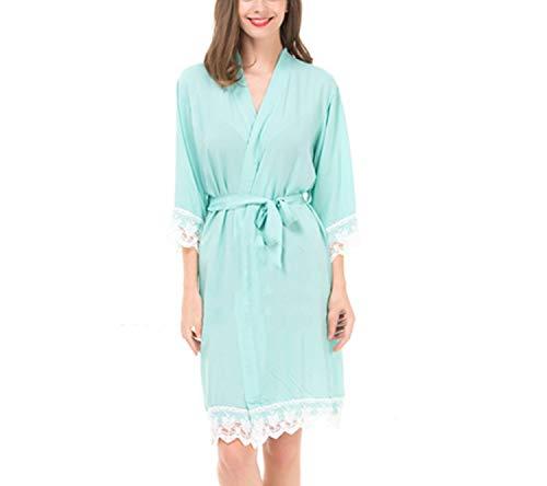 Robe Sexy Lace Kimono Cotton Soft Bride Pajamas Solid Robes Girls Women Bathrobes Nursing Robes,Mint,M
