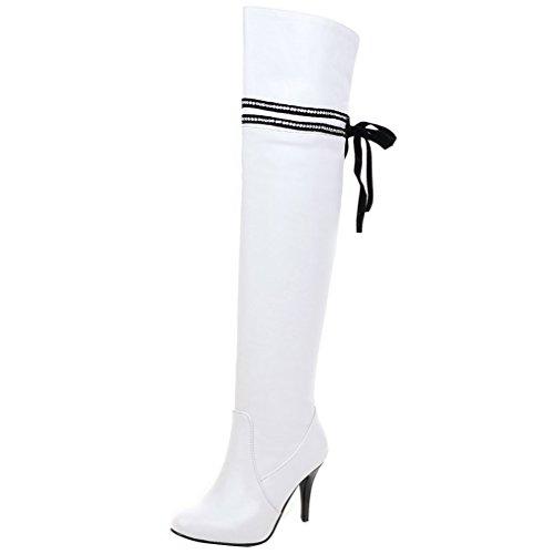 ENMAYER Mujeres Botas de estilo y Diseño de la Cremallera Interior Elegante del Cordón fino del Talón del estilo Punky de Todos los Partidos Blanco
