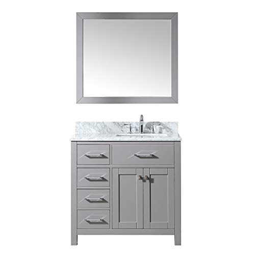 - Virtu USA MS-2136L-WMSQ-CG Caroline Parkway Single Bathroom Vanity with Marble Top/Square Sink with Mirror 36 inches Cashmere Gray