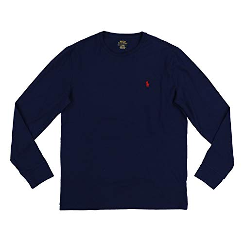 Polo Ralph Lauren Men Long Sleeve Crewneck Pony Logo T-Shirt (Large, Navy/Red Pony)