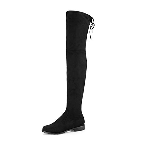 (Hoxekle Woman Over The Knee High Boots Slip On Low Square Flat Heel Round Toe Faux Suede Comfort Winter Warm Long Boots Black)