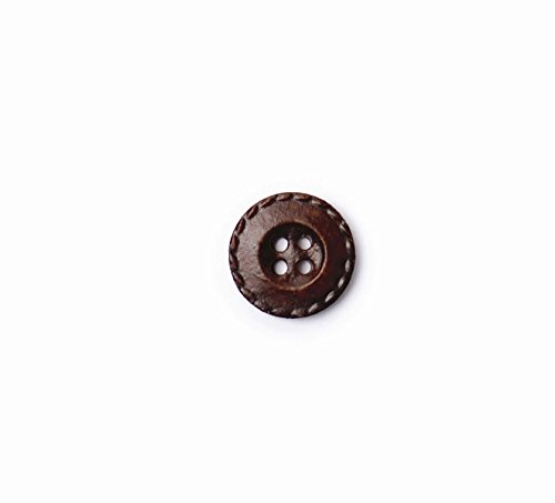 Effect Buttons - Crendon 2B/1076 | Dark Brown Leather Effect Nylon Button | 4 Holes 15mm 30 Pack