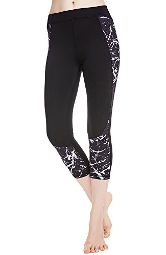 icyzone Capri Yoga Pants Athletic Leggings Workout Clothes Fitness Tights for Women (M, Monochrome)