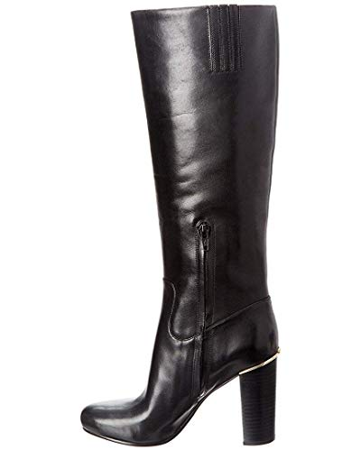 Michael Michael Kors Womens Janice Boot Leather Round Toe Knee, Black, Size 10.0 (Kors Michael Size Boots 10)