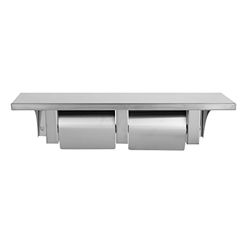 Dependable Direct Pack of 8 - Double Roll Toilet Paper Holder and Shelf - Stainless Steel - Satin Finish - Hooded by Dependable Direct (Image #1)