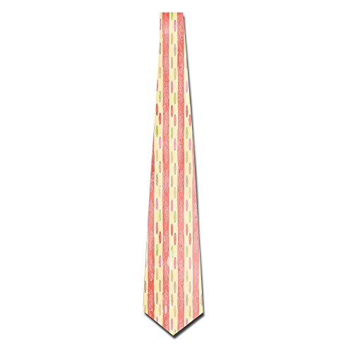 WuLion Retro Stripes And Dots In Watercolor Featured Effects Nostalgic Pattern Men's Classic Silk Wide Tie Necktie (8 ()