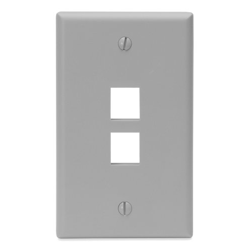 Leviton 41080-2GP QuickPort Wallplate, Single Gang, 2-Port, Grey (Grey Single)