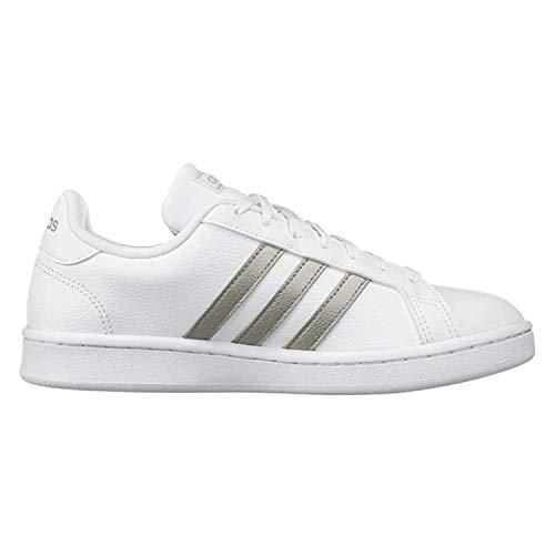 adidas Women's Grand Court Tennis Shoe, white/platino metallic/white, 11 M US