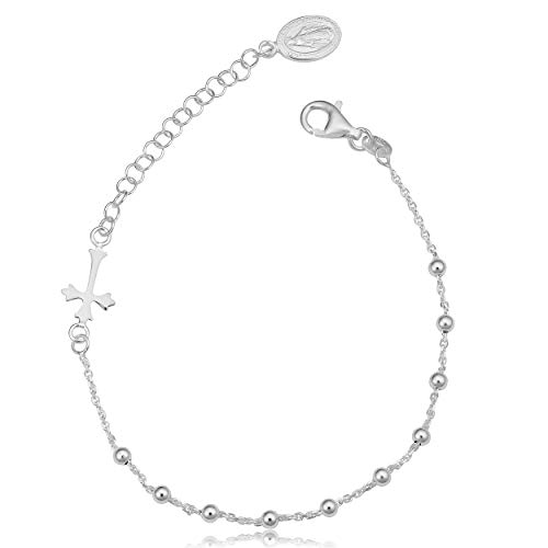 Sterling Silver Saturn Rosary Adjustable Length Bracelet (7 to 8.5 inch)