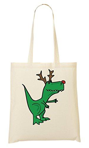 T-Rex Being A Christmas Deer Cute Bolso De Mano Bolsa De La Compra