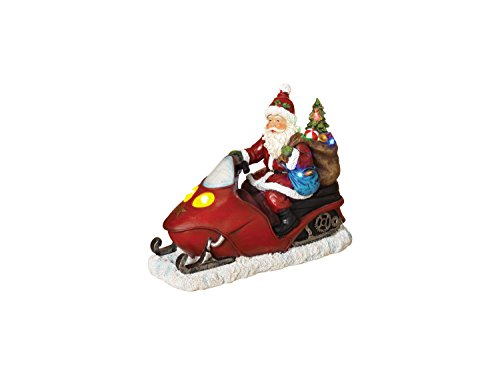 Gerson Battery Operated Lighted Resin Santa on Snow Mobile Delivering Gifts - Santa Mobile