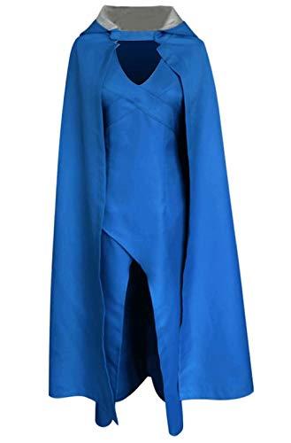 Daenerys Targaryen Blue Dress Cloak Khaleesi Cosplay Costumes]()