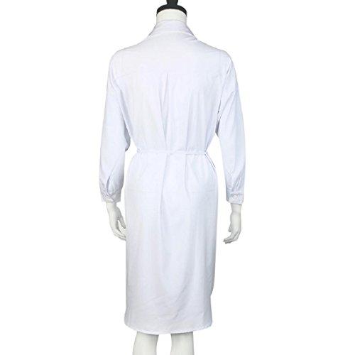 Tongshi de las mujeres de la manga larga suelta tapas largas de la blusa Blanco