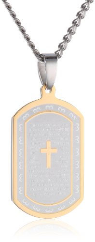 Men's Stainless Steel Two-Tone Lord's Prayer Dog Tag, - Tag Two Dog Tone