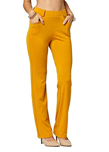 Yellow Pants Ankle - Premium Women's Stretch Dress Pants - Treggings - Bootcut Mustard - Small - YE01-Solid-Mustard-S