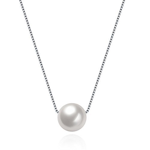Maxilei 925 Sterling Silver Necklace Handmade White Pearl Pendant Chain For Women Or Girls (1 Pearl) (Nice White Pearl Necklace)