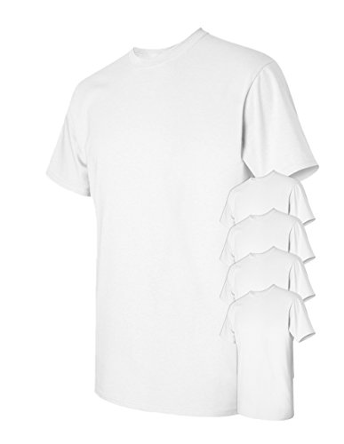 Jade Heavyweight T-shirt - Gildan Men's Classic Heavy Cotton T-Shirt, White, X-Large. (Pack of 5)