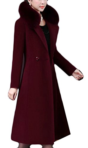 UK Collar Elegant Red Blend Sleeve Faux Wool Jacket Fit Womens Long Slim Fur today Wine RxSqd4Fd