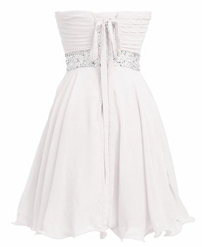 Fashion Plaza Vestido Corto de Gasa Cristal Vestido de Fiesta D0263 Blanco UK6