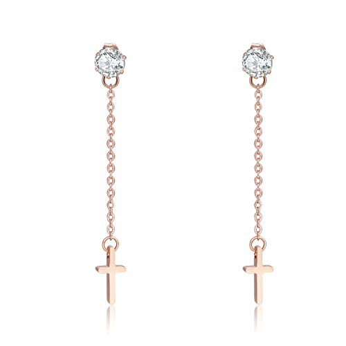 Cross Earrings Titanium Stainless Steel 18K Rose Gold Plated For Girls Women By Promices