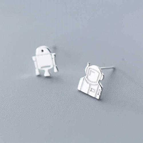 WOZUIMEI Earring Dangler Eardrop Stud Earring S925 Silver Earrings Female Fashion Asymmetric Robot Earrings Personality Ear Jewelry for Women, Silver, 925 Silver