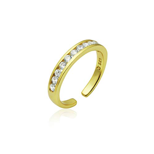 Cubic Zirconia Star Toe Ring - Big Apple Hoops Sterling Silver Toe Rings Channel Cubic Zirconia CZ Nickle Free Yellow Gold Flashed Finish