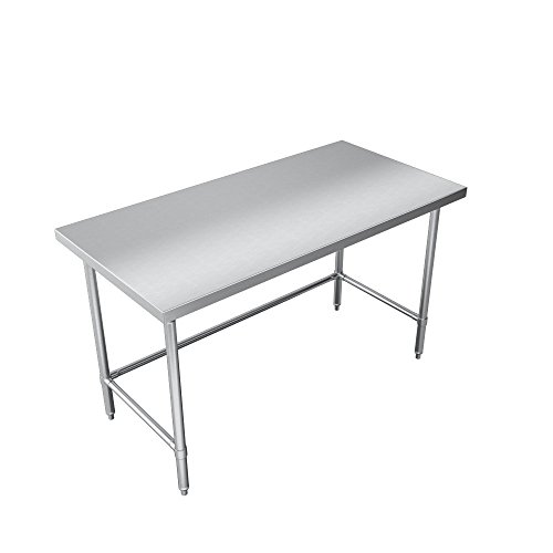 Elkay Foodservice Chef's Choice Work Table, 30''X108'' OA, 36'' Working Height, Flat Top, Cross Brace, Turned Down Table Edge, Stainless Legs With Adjustable 1'' Feet, 16 Gauge 300 Series Stainless Steel, NSF Certified by Elkay Foodservice (Image #3)