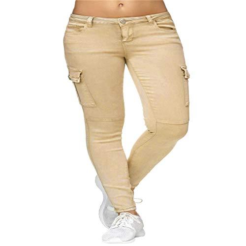 JOFOW Pants for Women Casual Skinny Solid Side Pockets Long Mid Waist Workwear Pencil Cigarette Crop Trousers (S,Beige) -