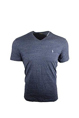 Polo Ralph Lauren Mens Classic Fit V-Neck T-Shirt (X-Large, Blue Heather (Light Blue Pony))
