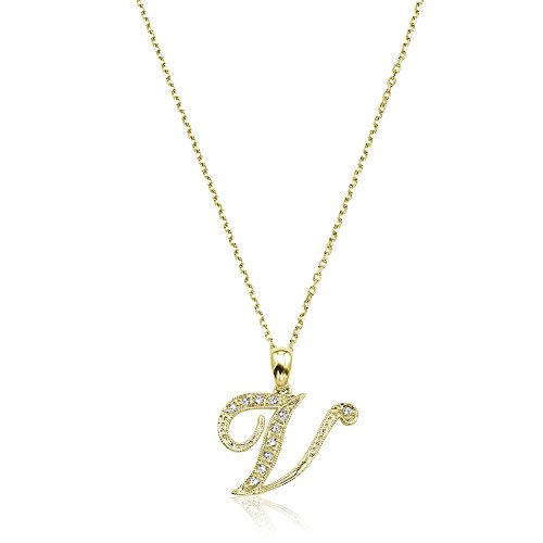 Jewels By Erika Script V-Y 14K Gold and Diamond Initial Pendant - Yellow Gold