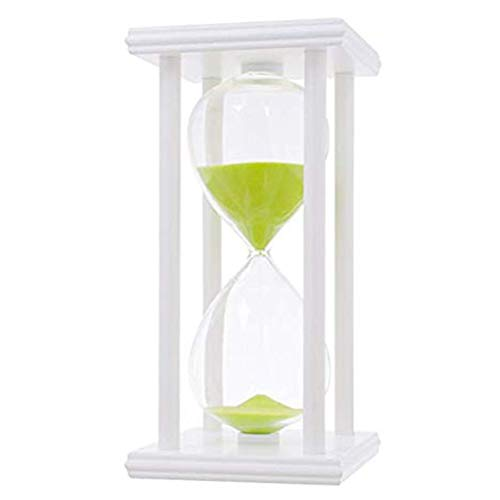 White Sand Greens - iPhyhe 60 Minutes Hourglass, One Hour Sand Timer with White Wooden Frame (Green Sand)