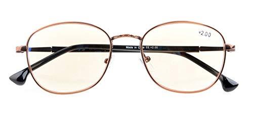 UV Protection,Anti Blue Rays,Reduce Eyestrain,Retro Computer Reading Glasses(Bronze,Amber Tinted Lenses) +1.25 (Tinted Bronze Lens)