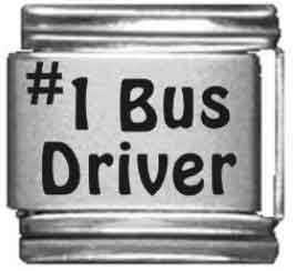 Number 1 Bus Driver Laser Italian Charm