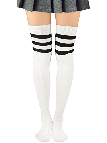 Bts Wearing Halloween Costumes (Women Three Stripes Over The Knee Tube Socks High Thigh Tights Stretch Athletic Sport Casual Cosplay Dresses Knit Stockings 1 Pair White)