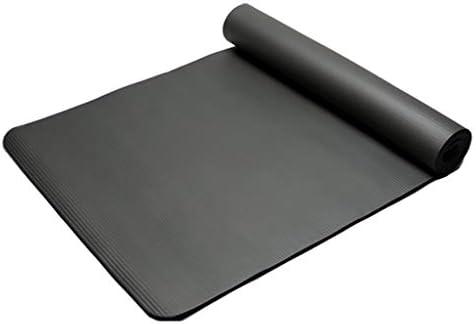 YANJDN ヨガマット10mm エクササイズフィットネスマット厚いエクササイズマット滑り止めトレーニングヨガマットヨガ、ピラティス、床のエクササイズとフィットネス (ブラック)