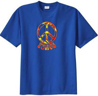 Funky 70s Peace Sign - Peace Sign FUNKY 70s Retro Classic Symbol T-shirt - Royal Blue, 6XL