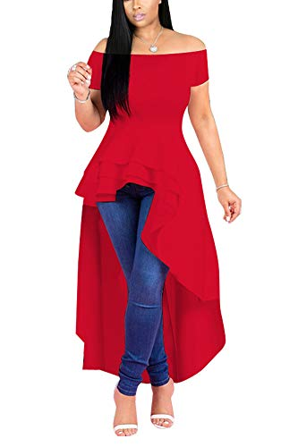 Off Tops Pants - Fashion High Low Tops for Women - Unique Ruffle Off Shoulder Tunic Shirt Medium Red