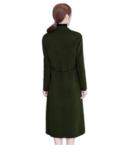 Chic Casual Mode Vêtements Warm D'extérieur Manteau Épaisseur Parka Femme Coat Revers Vintage Battercake Armygreen Unicolore Longues Laine Manches De Elégante Hiver F7qtx8