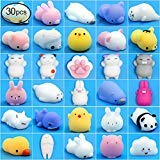 Mochi Squishy Toys FLY2SKY 30Pcs Animal Squishies Party Favors for Kids Stress Relief Toys Kawaii Animal Stress Toys Cat Stress Reliever Squishy Toys Mini Novelty Gifts Seal Rabbit Cat Random -